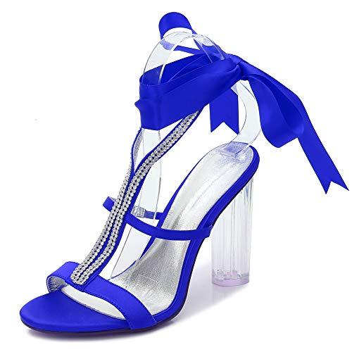 LGYKUMEG Damen Hochzeit Schuhe,Bridal Brautschuhe Closed Toe Stöckelabsatz Satin Strass Sandale Hoch Absatz Pumps Abendschuhe,Blau,42EU/11US/9UK
