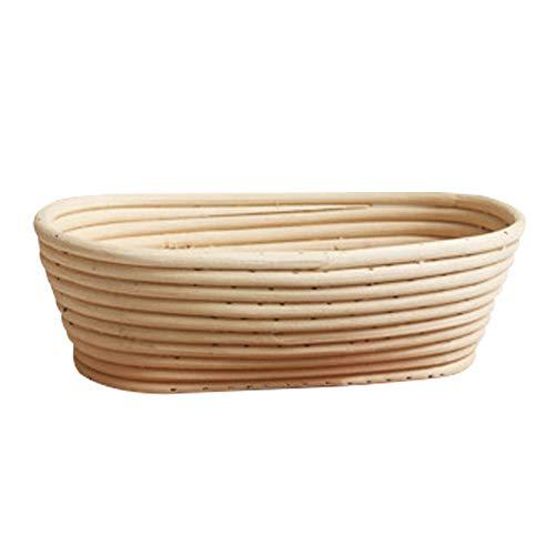 Banneton Pruebas Cesta Canasta de Fermentación de Pan Cuenco de Ratán para Masa de Pan (Oval 25 * 15 * 8cm)