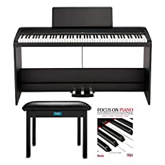 BUNDLE INCLUDES: KORG B2SP 88-Key Natural Weighted Hammer Action Digital Piano with Stand and Three-Pedal Unit, Focus on Piano - A Concise Approach to Learning and Playing (with CD), and Knox Gear Furniture Style Flip-Top Piano Bench (Black) PERFECT ...
