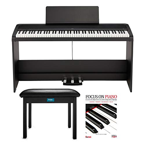 KORG B2SP 88-Key Digital Piano Bundle with Stand, Three-Pedal Unit, Knox Gear Piano Bench and Piano Book (3 Items)