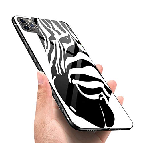 LANYOS Compatible iPhone 11 Pro Max Case, Ultra-Thin Tempered Glass Pattern Painted Back Cover + Soft TPU Bumper Frame (6.5 inch 2019) (Zebra)