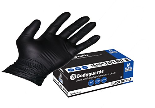 Bodyguards GL897 Powder Free Disposable Black Nitrile Gloves - Box of 100...