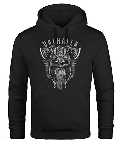 Neverless® Hoodie Herren Aufdruck Army Print Kapuzen-Pullover Männer Fashion Streetstyle schwarz L