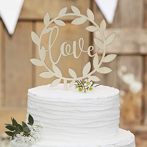 Ginger Ray Decoración de madera para tarta de boda, diseño rústico, color beige