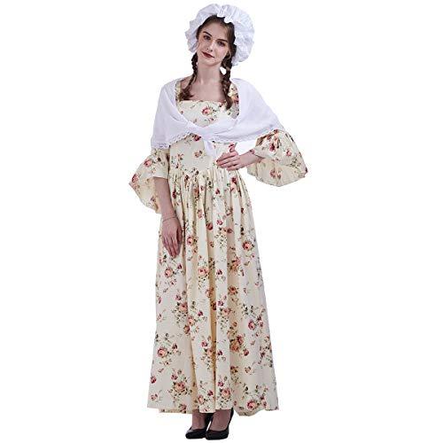 GRACEART Vestido de Traje de Mujer pionero Colonial (22, Giallo)