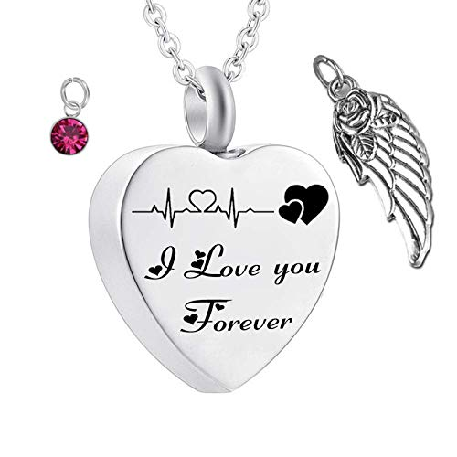 Daesar Women Men Necklace Stainless Steel Cremation Necklace Wings ECG Necklace Engraved I Love You Forever Heart Necklace with Birthstones October
