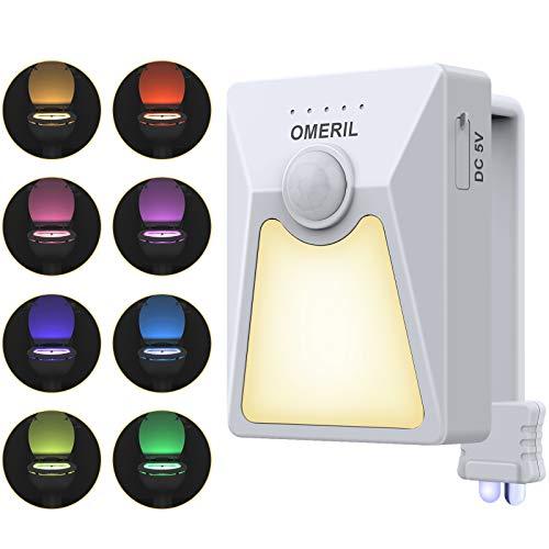 OMERIL LED Toilette Licht mit UV-Desinfektion Licht, wiederaufladbare Toilettenlicht mit Bewegungssensor und Dämmerungssensor, 18 Farben wasserdicht WC Nachtlicht WC Beleuchtung für Badezimmer Hause