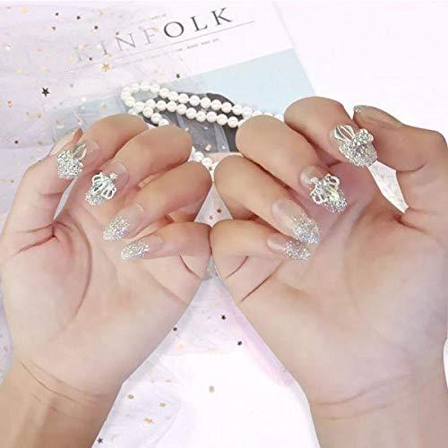 TJJF Mariage Mariée Transparent Paillettes Brillantes Faux Ongles es Avec Colle Glitter Diamante Couronne Bowknot Forme Artificielle Ongles 24 Pcs