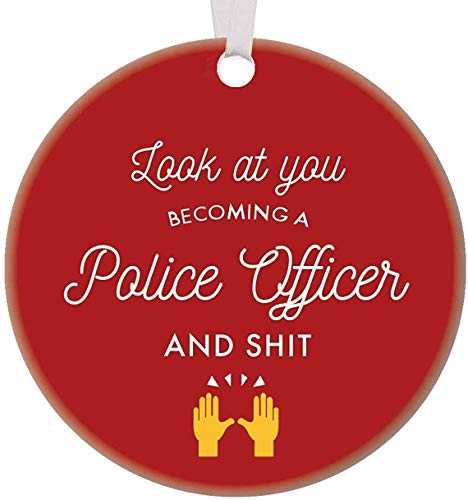 3' Christmas Ornament, Police Officer Christmas Ornament Holiday Keepsake Academy Graduation Party Gift Male Female Grad Law Enforcement Graduate Present Colorful Trendy Emoticon Ornament