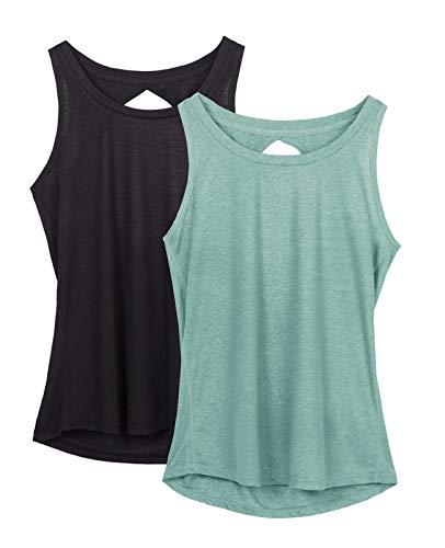 icyzone Damen Yoga Sport Tank Top Rückenfrei Fitness Oberteil ärmellos Shirts, 2er Pack (S, Schwarz/Hellgrün)