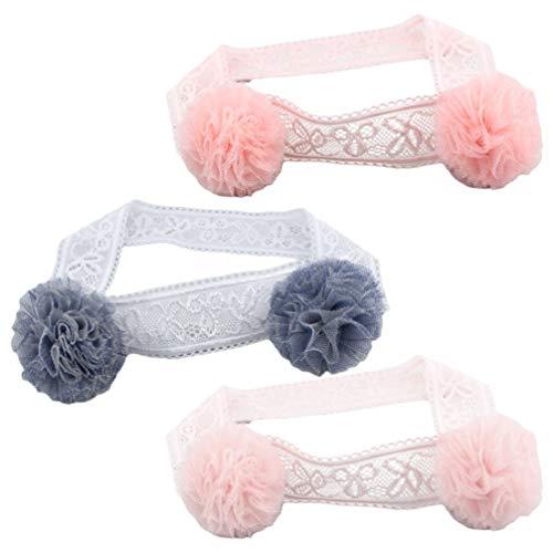 Minkissy 3Pcs Baby Säuglingsstirnbänder Pompon Blumenstirnbänder Prinzessin Dekorative Kopfschmuck Foto Requisiten für Neugeborene Kleinkind Kinder Zufällig