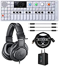 Teenage Engineering OP-1 Portable Synthesizer, Sampler, and Controller Bundle with ATH-M20x Professional Monitor Headphones, Blucoil USB Wall Adapter, 3' USB Extension Cable, and 3x 7
