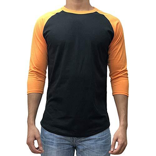 Kangora Men's Plain Raglan Baseball Tee T-Shirt Unisex 3/4 Sleeve Casual Athletic Performance Jersey Shirt (Black Orange, Large)