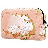 Kit de Maquillaje Neceser Makeup Bolso de Cosméticos Portable Organizador Maletín para Maquillaje Maleta de Makeup Profesional Flor de melocotón 18.5x7.5x13cm