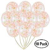Globos de confeti de oro rosa | Paquete de 10 unidades grandes de 45,72 cm, papel rosa claro y blanco prerellenado | boda, compromiso, fiesta de cumpleaños eventos