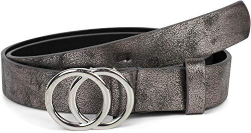 styleBREAKER Damen Gürtel Unifarben mit Ringschnalle, Hüftgürtel, Taillengürtel, Synthetikgürtel, Einfarbig 03010093, Größe:80cm, Farbe:Antik-Grau-Silber