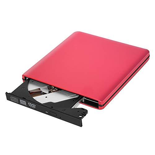 FeiKe Lecteur de brûleur Blu-Ray Externe USB3.0 Lecteurs DVD 3D Slim Lecteur Optique Lecteur Blu-Ray Writer Lecteur CD/DVD Brûleur pour Windows/iOS,Rouge