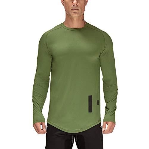 Camiseta de Manga Larga Deportiva Delgada con Cuello Redondo de Color sólido para Hombres nuevos