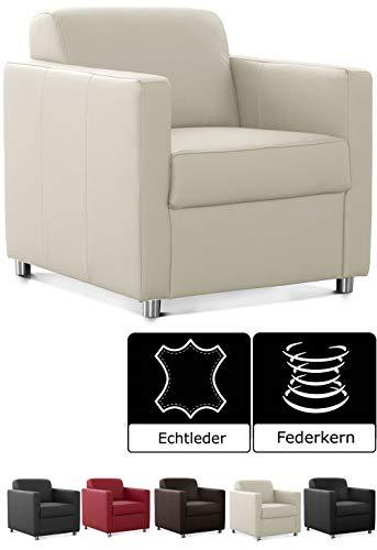 CAVADORE Corianne Sessel, mit Federkern, Ledersessel Design, 78 x 80 x 83, Echtleder: weiß