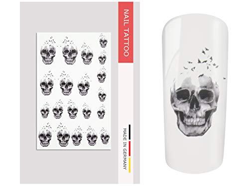 NailArt Tattoo Totenkopf Vogel - Nail Art Nagel Kunst Naildesign