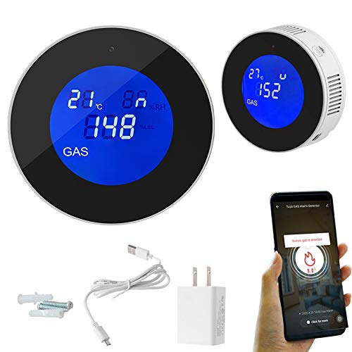 WiFi Natural Gas Detector,Smart Gas Propane Leak Detectors for Home, Kitchen,Plug-in Gas Leak Sensor Alarm for LPG,LNG,Methane,Butane Gases,APP Control LCD Display Temperature Sensor