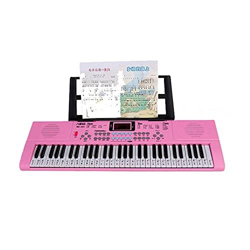 Tastiera Pianoforti Pianoforte digitale Tastiera 61 tasti per principianti Leggio per spartiti Tastiera per pianoforte elettrico Facile da imparare (Colore: Rosa, Dimensioni: 68X20X5.5cm)