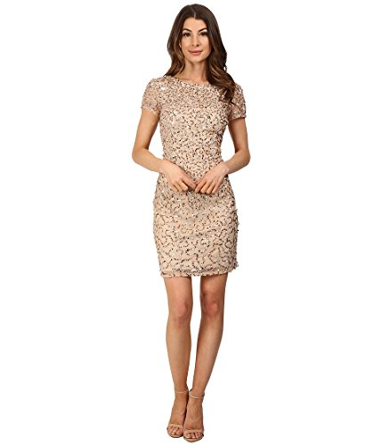 Adrianna Papell Women's Short Beaded Cap-Sleeve Dress, Champagne/Silver, 10