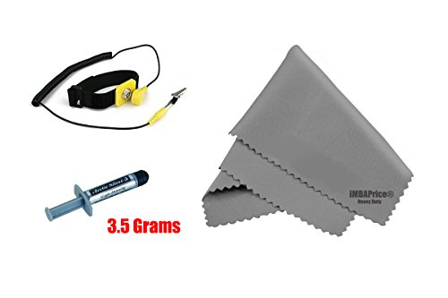 """Arctic Silver 5 Installer Kit - 3.5 Grams with Anti-Static Wrist Band + Microfiber (7"""" X 6"""") Cleaning Cloth"""