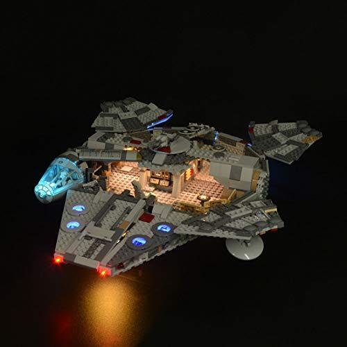 Likecom Juego de iluminación LED para Star Wars Halcón Milenario, compatible con Lego 75257, sin juego Lego, versión clásica