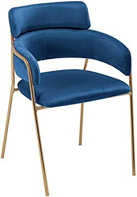 Dining Chairs Mid Century Guest Chair, Vanity Chair, Modern Velvet Arm Chair with Gold Metal Legs, Leisure Chair for Living Room/Bed Room [5 Colors]