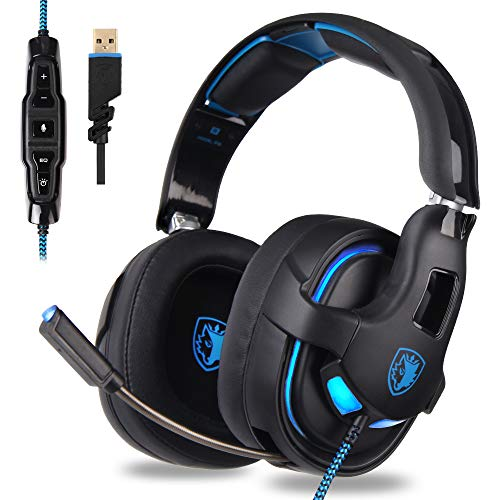 Gaming Headset, USB Headset Stereo Over-Ear Gaming Headphones Supports Virtual 7.1 Channel Surround Sound with Microphone EQ Bass Boost Button for PC Mac