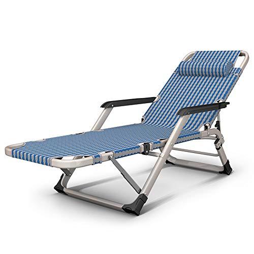 Axdwfd Chaise longue Chaise longue, lit pliant portatif simple sieste lit petit multifonctionnel simple déjeuner pause plage chaise pliante arrière 80 * 64 * 105 cm