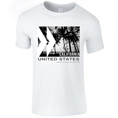 Tunni USA Californie T-Shirt (Extra-Large, Blanc)