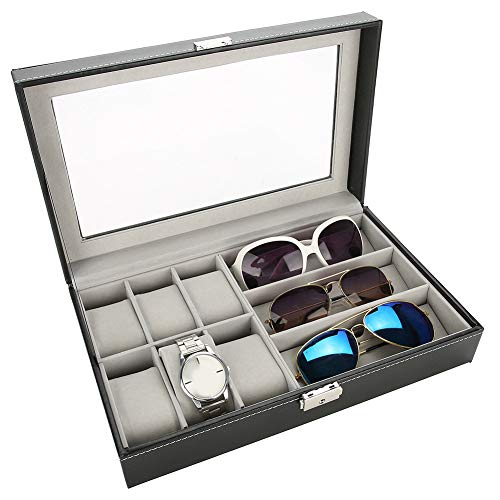 6 Grid für Uhr Organize und Display, 3 Grid für Gläser Organisieren und Anzeige, PU Leder Luxus Display Aufbewahrungsk, Aufbewahrungsbox für Sonnenbrille und Uhr AufbewahrungZubehör