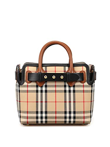 Make way for the Baby Belt satchel handbag by Burberry Luxuriously crafted with leather and canvas materials This chic bag features a signature vintage check pattern and sleek leather trimming perfect for everyday use or travel Convertible strap incl...