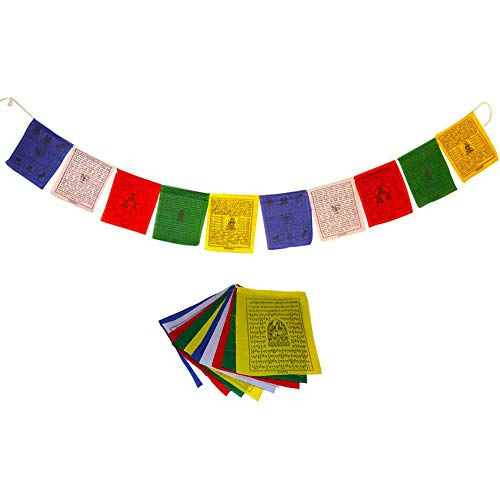 Juccini Tibetan Tranquil Wind Horse Lungta Prayer Flags ~ Handmade Tibetan Affirmation Prayer Flags ~ Himalayan Flags (Small Pack of 50 (6' x 6'))