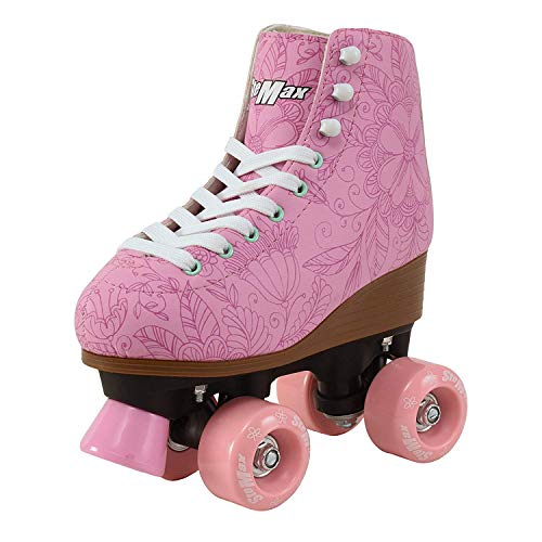 Stemax Quad Roller Skates for Girls and Women-Size 2.5 Kids to 8.5 Women -Outdoor, Indoor and Rink Skating- Classic High Cuff with Adjustable Lace System (Pink, 8 Adult)