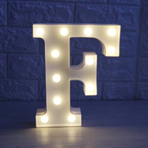 Disky Letrero de luz LED con pilas, 26 letras de plástico para carpas de mesa, iluminando palabras, cumpleaños, bodas, fiestas, decoración diaria del hogar, para colgar en la pared (F)
