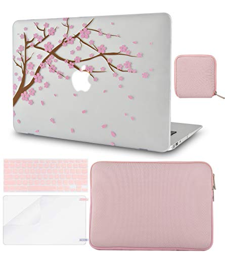 LuvCase 5 in 1 Laptop Case for MacBook Air 13 Inch (Touch ID) (2018-2020) A1932 Retina Display Hard Shell Cover, Slim Sleeve, Pouch, Keyboard Cover & Screen Protector (Cartoon Cherry Blossom)