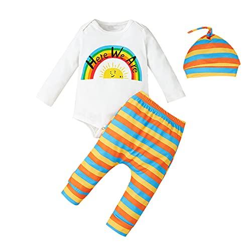 Pasgeboren Peuter Baby Meisjes Regenboog Kleding Lange Mouwen Letters Romper Jumpsuit Gestreepte Broek Hoed voor 0-12 Maanden, Kleur: wit, 9-12 Maanden