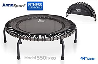 JumpSport 550F PRO | Folding Fitness Trampoline | Easy Transport | Fitness Professionals' First Choice | Extra Large Surface | Stable Non-Tipping Arched Legs | Top Rated for Quality & Durability | 4 Music Workout Vids Incl.