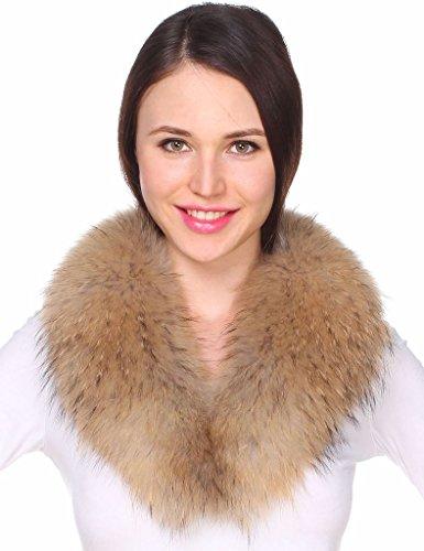 Ferand - Bufanda Cuello de Piel de Mapache Auténtica Desmontable para Abrigo Chaqueta Chaleco Parka de Mujer en Color Natural Claro