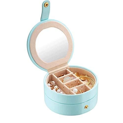 WYFDC Pequeña caja de joyería de viaje, mini organizador de viaje, estuche de almacenamiento portátil para anillos, pendientes, collar, la mejor opción de regalo para niñas y mujeres (color: A)