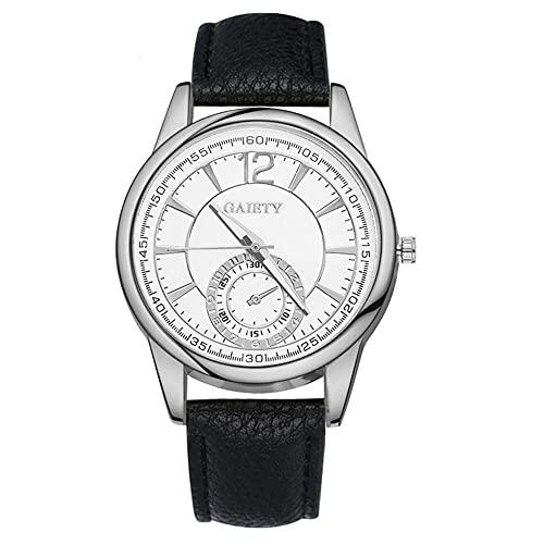 SUYANG Reloj De Aleación Reloj De Cuarzo Reloj De Pulsera De Moda Reloj Redondo Reloj De Pulsera De Cuarzo Pantalla Analógica Strap De PU Reloj De Aleación (Negro)
