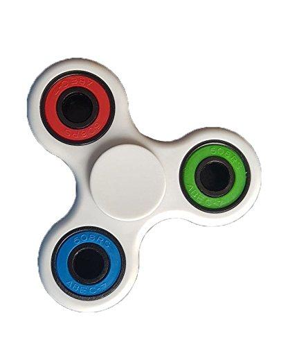 Christmas Concepts® - Exclusivo Color Blanco y Multi Color Fidget Hand Spinner - Reductor de Estrés, Alivio de Estrés, Autismo - Tiempo de Spin 1-3 Minutos