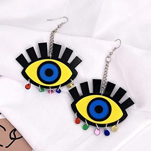 NAOZHONGa damesmode lang acryl geel verrekijker oorbellen sieraden pailletten kwast Evil Eyes Drop oorbellen sieraden