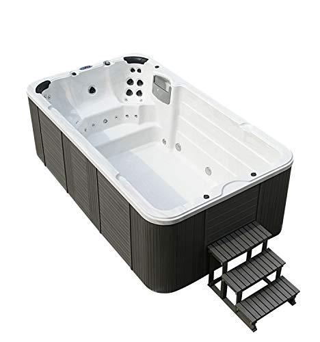 DEKO VERTRIEB BAYERN XXXL Luxus Led Swim Spa 400x230cm Whirlpool Gegenstromanlage 8 Personen Outdoor Schwimmbad Schwimmbecken inkl. Spedition