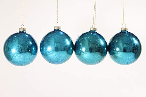Suspension de Noël boules en verre ovale/rond de la collection paon – Lot de 4, Verre, bleu