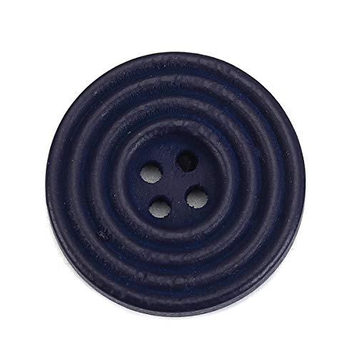 SiAura Material – 30 bottoni rotondi in legno per scrapbooking, 25 mm, blu scuro, 4 fori, per cucito, bricolage e decorazione