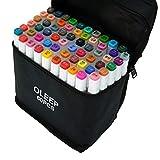 OLEEP 60 colores - Rotuladores de doble punta para pintar y resaltar con funda de transporte